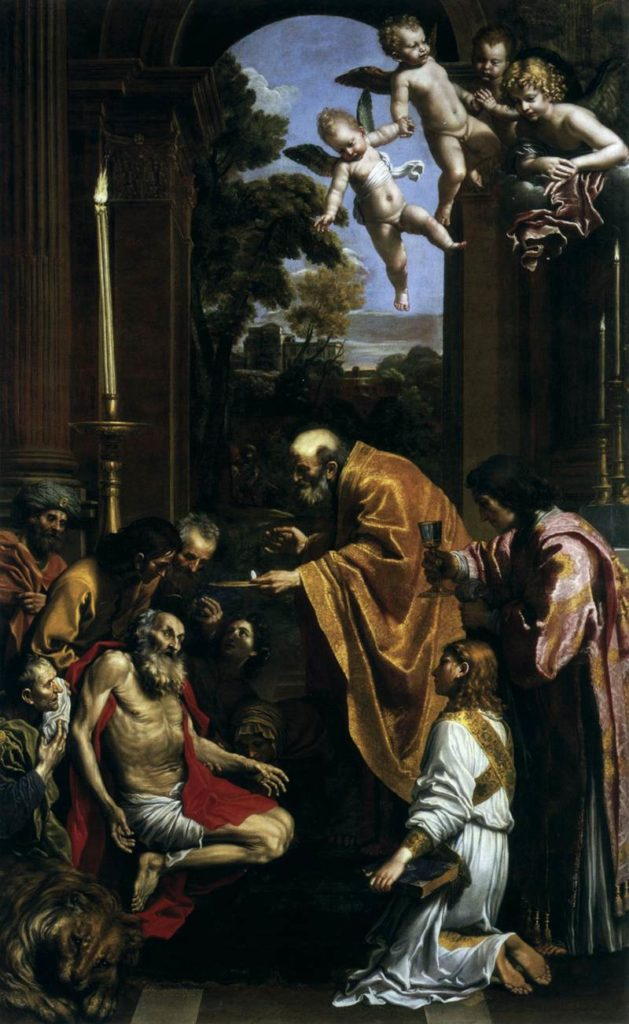 malte Die letzte Kommunion des Hl. Hieronymus 1614 gemalt von Domenichino